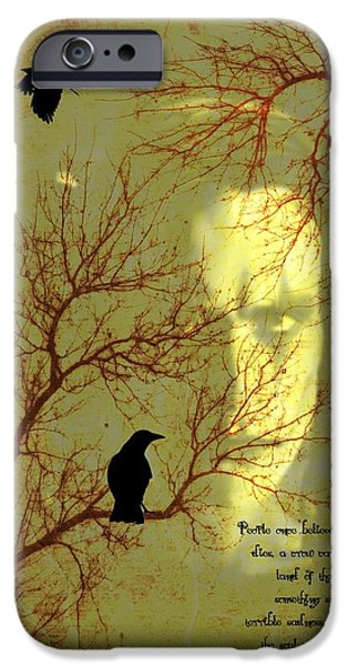 Crows Mixed Media iPhone Cases - The Crow iPhone Case by Dan Sproul
