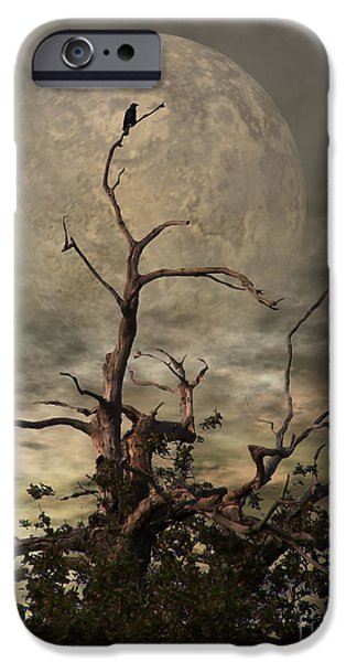 Eerie iPhone Cases - The Crow Tree iPhone Case by Lady I F Abbie Shores
