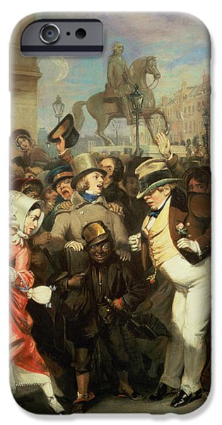 Sweeps iPhone Cases - The Crowd, 1841 Oil On Canvas iPhone Case by Robert William Buss