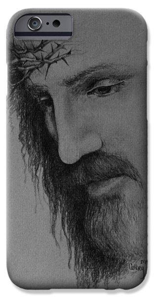 Jesus Drawings iPhone Cases - The Crown iPhone Case by Catherine Howley