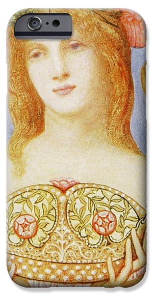 Female Drawings iPhone Cases - The Crown of Peace iPhone Case by Sir William Blake Richmond