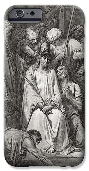 Son Of God Drawings iPhone Cases - The Crown of Thorns iPhone Case by Gustave Dore