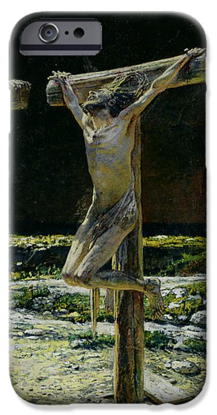 Son Of God Paintings iPhone Cases - The Crucifixion iPhone Case by Nikolai Nikolaevich Gay