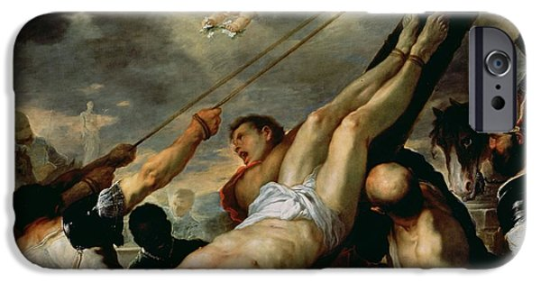 Martyr iPhone Cases - The Crucifixion Of Saint Peter, C.1660 Oil On Canvas iPhone Case by Luca Giordano