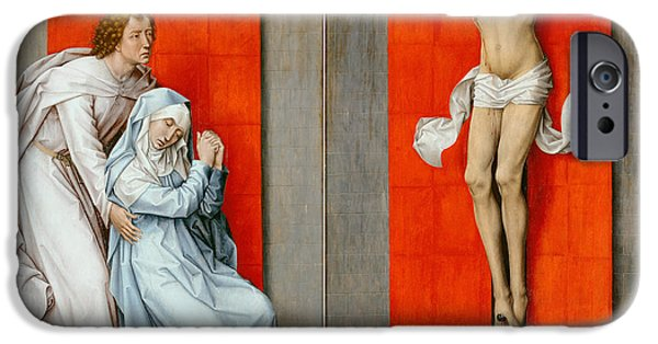 Evangelist iPhone Cases - The Crucifixion with the Virgin and Saint John the Evangelist Mourning iPhone Case by Rogier van der Weyden