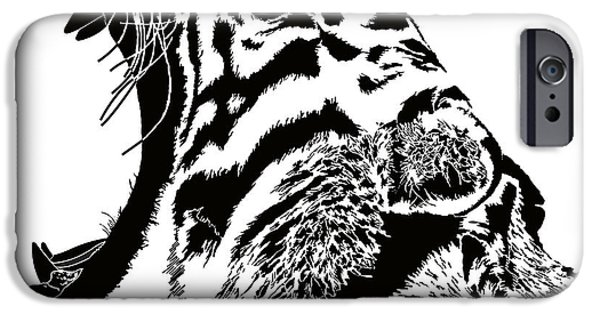 Crying Drawings iPhone Cases - The cry of the tiger iPhone Case by Magdalen DgArtStudio
