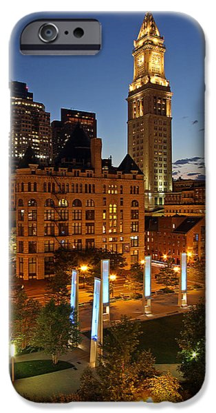 Custom House Tower iPhone Cases - The Custom House of Boston iPhone Case by Juergen Roth