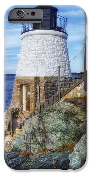 New England Lighthouse iPhone Cases - Castle Hill The Cutest Lighthouse in the World iPhone Case by Joan Carroll