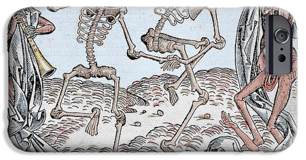 Creepy Drawings iPhone Cases - The Dance of Death iPhone Case by Michael Wolgemut