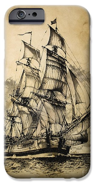 Tall Ship Mixed Media iPhone Cases - The Dark Endeavor iPhone Case by Brad Cooper