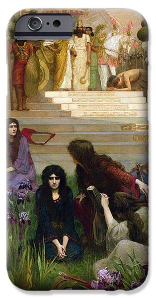 Babylon iPhone Cases - The Daughters of Judah in Babylon iPhone Case by Herbert Gustave Schmalz