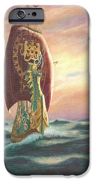 Catherine Howard iPhone Cases - The Dawn Treader - Riding the Waves iPhone Case by Catherine Howard