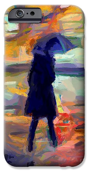 Silhoette iPhone Cases - The day for an umbrella iPhone Case by Dragica  Micki Fortuna