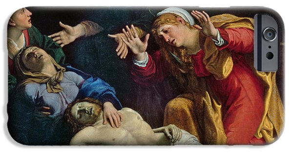 Mourn iPhone Cases - The Dead Christ Mourned  iPhone Case by Annibale Carracci
