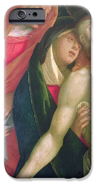 Bible iPhone Cases - The Dead Christ with the Virgin and Saints iPhone Case by Gaudenzio Ferrarri