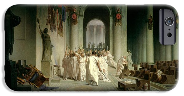 Roman Emperor iPhone Cases - The Death of Caesar iPhone Case by Jean Leon Gerome