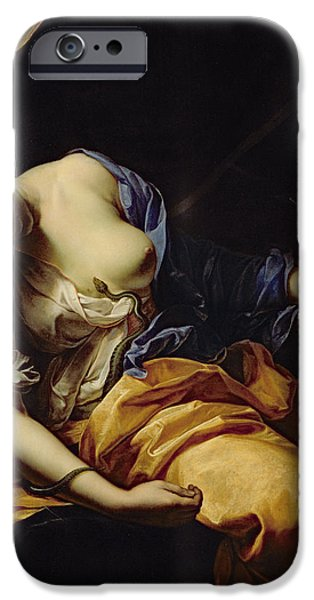 Serpent iPhone Cases - The Death Of Cleopatra Oil On Canvas iPhone Case by Antoine Rivalz