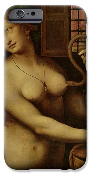 Biting iPhone Cases - The Death Of Cleopatra Oil On Panel iPhone Case by Giovanni Pedrini Giampietrino