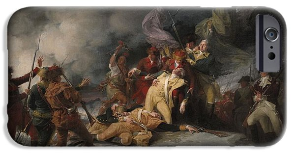 United iPhone Cases - The Death Of General Montgomery In The Attack On Quebec, December 31, 1775, 1786 Oil On Canvas iPhone Case by John Trumbull