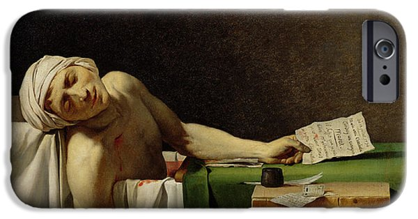 Charlotte iPhone Cases - The Death Of Marat, After The Original By Jacques-louis David 1748-1825 Oil On Canvas iPhone Case by Jerome Martin Langlois
