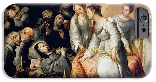 Sickness iPhone Cases - The Death of Saint Clare iPhone Case by Bartolome Esteban Murillo