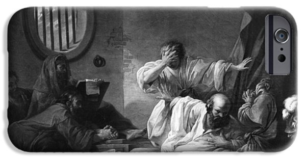 Robe Drawings iPhone Cases - The Death of Socrates iPhone Case by Jacques Philippe Joseph de Saint-Quentin