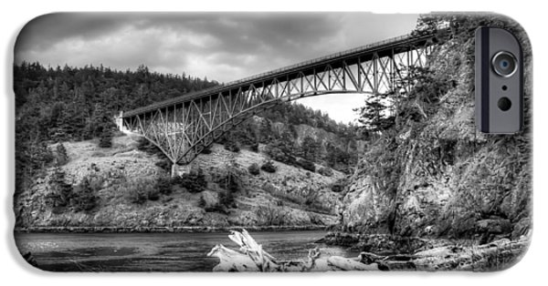 Monotone Photographs iPhone Cases - The Deception Pass Bridge II BW iPhone Case by David Patterson