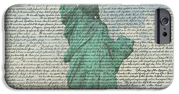 Constitution iPhone Cases - The Declaration of Independence - Statue of Liberty iPhone Case by Stephen Stookey