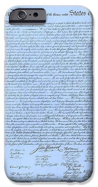 THE DECLARATION OF INDEPENDENCE in CYAN iPhone Case by ROB HANS