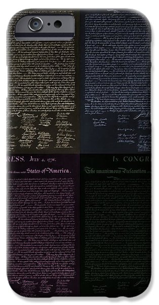 THE DECLARATION OF INDEPENDENCE in NEGATIVE COLORS iPhone Case by ROB HANS