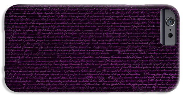 4th July Digital iPhone Cases - THE DECLARATION OF INDEPENDENCE in NEGATIVE PURPLE iPhone Case by Rob Hans