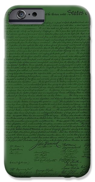 THE DECLARATION OF INDEPENDENCE in OLIVE iPhone Case by ROB HANS