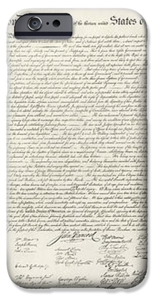 THE DECLARATION OF INDEPENDENCE in RED WHITE AND BLUE iPhone Case by ROB HANS