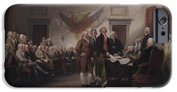 Benjamin Franklin iPhone Cases - The Declaration Of Independence, July 4, 1776, 1817 Oil On Canvas iPhone Case by John Trumbull