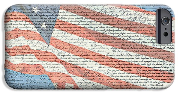 4th July Photographs iPhone Cases - The Declaration of Independence - Star-Spangled Banner iPhone Case by Stephen Stookey