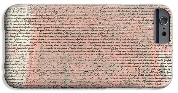 4th July Photographs iPhone Cases - The Declaration of Independence iPhone Case by Stephen Stookey