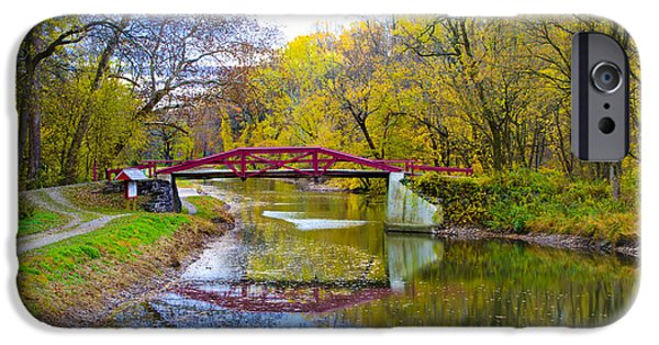 Rivers In The Fall iPhone Cases - The Delaware Canal Near New Hope Pa in Autumn iPhone Case by Bill Cannon