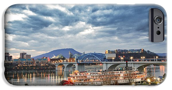 Tennessee River iPhone Cases - The Delta Queen and Coolidge Park At Dusk iPhone Case by Steven Llorca
