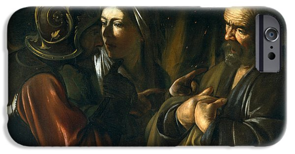 Caravaggio iPhone Cases - The Denial of Saint Peter iPhone Case by Caravaggio