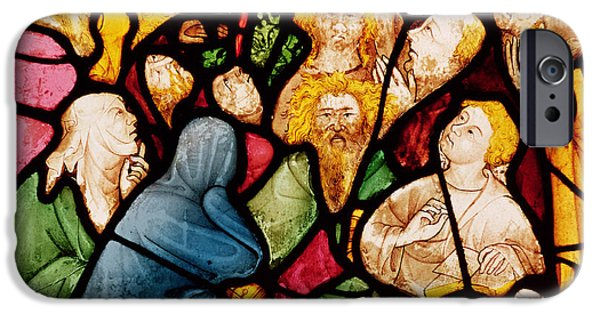 Pentecost iPhone Cases - The Descent Of The Holy Spirit, C.1400 Stained Glass iPhone Case by French School