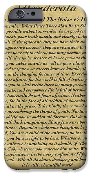 Graduation iPhone Cases - The Desiderata Poem on Antique Wallpaper iPhone Case by Desiderata Gallery