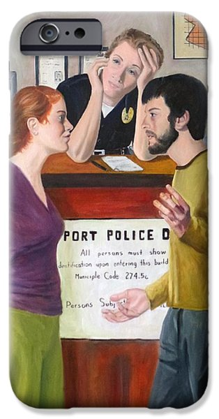 Law Enforcement Paintings iPhone Cases - The Desk Officer iPhone Case by Joseph Wheatley