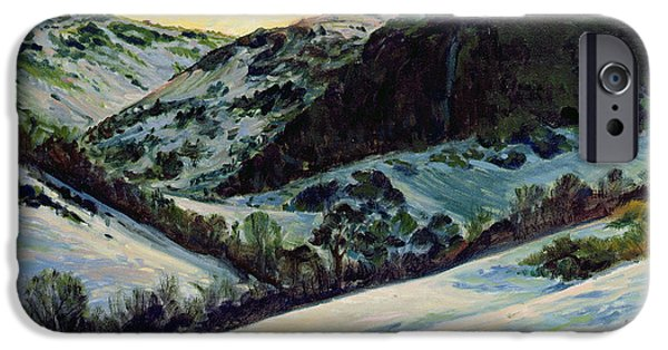 Snow Scene iPhone Cases - The Devils Dyke In Winter, 1996 iPhone Case by Robert Tyndall