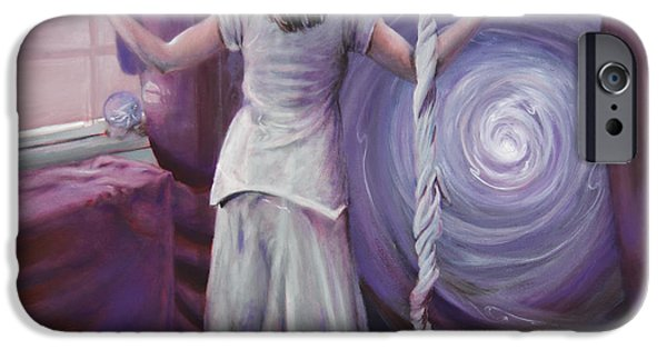Spiritual Portrait Of Woman iPhone Cases - The Devotee iPhone Case by Shelley  Irish