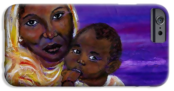 Spiritual Portrait Of Woman Paintings iPhone Cases - The Devotion Of A Mothers Love iPhone Case by The Art With A Heart By Charlotte Phillips