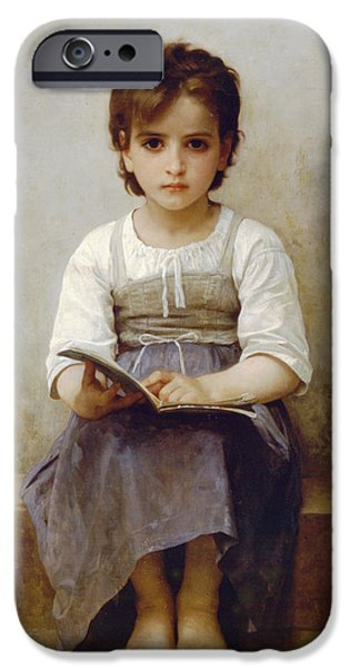 Little Girl Digital Art iPhone Cases - The Difficult Lesson iPhone Case by William Bouguereau