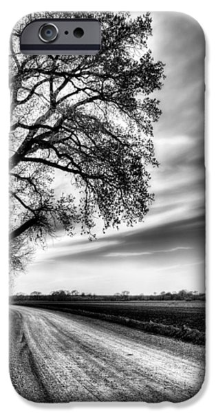 Country Dirt Roads iPhone Cases - The Dirt Road in Black and White iPhone Case by JC Findley