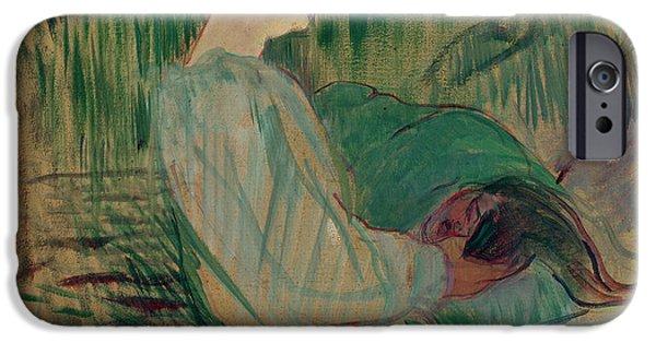 Green Pastels iPhone Cases - The Divan Rolande iPhone Case by Henri de Toulouse-Lautrec