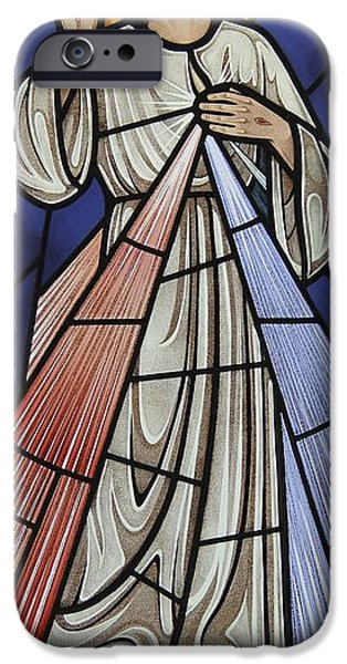 Sacred Glass Art iPhone Cases - The Divine Mercy iPhone Case by Gilroy Stained Glass