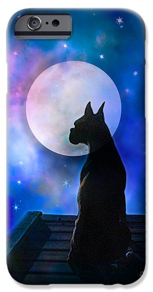 Boxer Dog iPhone Cases - The Dock at the Edge of the Universe iPhone Case by Judy Wood